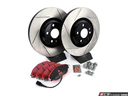 ES#3537692 - 025997ECS0591KT -  Front Brake Service Kit (340x30) - Featuring ECS V4 Slotted rotors and EBC RedStuff pads - Assembled By ECS - Volkswagen
