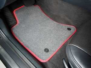 ES#2200719 - 8D0898013 - Floor Mat Set - Grey / Red Piping - Oval Retainers - High Quality Mats To Protect Your Interior - Schwaben -