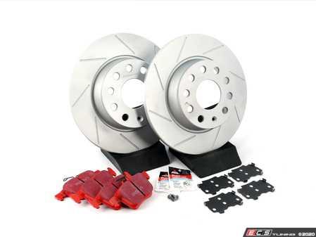ES#2975821 - 1K0615301AAAKT6 - Performance Rear Brake Service Kit - Featuring ECS GEOMET Slotted rotors and EBC RedStuff pads - Assembled By ECS - Audi Volkswagen