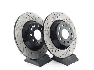ES#4369906 - 3q0615601a-xsKT - Rear V4 Cross Drilled & Slotted Brake Rotor - Pair (300x12) - Precision manufactured and featuring an electrostatic rust-inhibiting coating - ECS - Audi Volkswagen