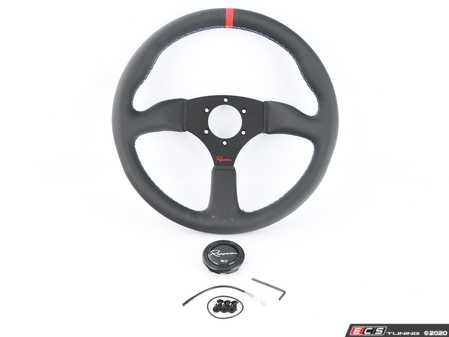 ES#3604428 - 130rmlcr - 130R Motorsport Competition Series Steering Wheel - Genuine Leather W/ Red Centerline & Tricolor Stitching - Upgrade your interior styling with a universal, performance styled steering wheel from Renown! Features a 350mm diameter and 50mm depth. - Renown - Audi BMW Volkswagen Mercedes Benz MINI Porsche