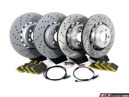 ES#3172564 - 34112284969KT3 - Front and Rear Performance Brake Service Kit - When stock braking performance just won't do - includes brand new OEM rotors with RSL29 Pagid Racing Yellow brake pads. Recommended for street and track. - Assembled By ECS - BMW