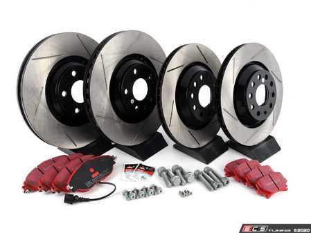 ES#3536993 - 025997ECS0393KT -  Front & Rear Brake Service Kit (340x30/310x22) - Featuring ECS V4 slotted rotors and EBC RedStuff pads - Assembled By ECS - Volkswagen