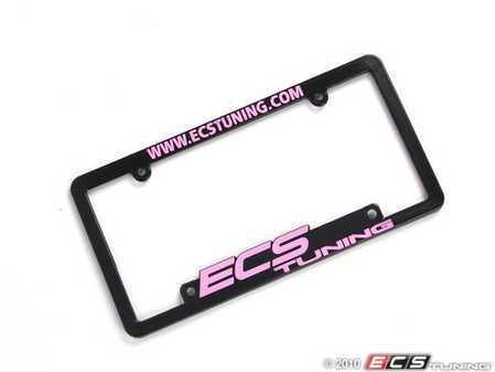 ES#2189959 - ECS-LP-FRAME-PNK - ECS Tuning License Plate Frame - Pink - Black fade resistant plastic frame with raised letters - ECS - Audi BMW Volkswagen Mercedes Benz MINI Porsche