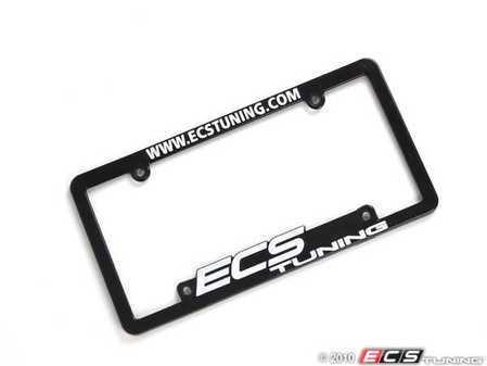 ES#5718 - ECS-LP-FRAME-WHT - ECS Tuning License Plate Frame - White - Black fade resistant plastic frame with raised letters - ECS - Audi BMW Volkswagen Mercedes Benz MINI Porsche