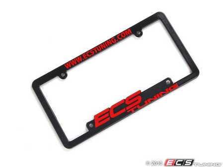 ES#5715 - ECS-LP-FRAME-RED - ECS Tuning License Plate Frame - Red - Black fade resistant plastic frame with raised letters - ECS - Audi BMW Volkswagen Mercedes Benz MINI Porsche