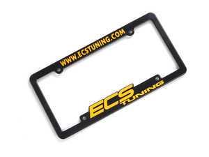 ES#5716 - ECS-LP-FRAME-YLW - ECS Tuning License Plate Frame - Yellow - Black fade resistant plastic frame with raised letters - ECS - Audi BMW Volkswagen Mercedes Benz MINI Porsche