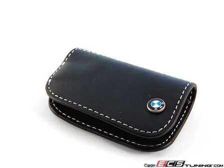 ES#2101827 - 80232209855 - Nappa Leather Key Case - Black - Featuring white stitching and the BMW roundel - Genuine BMW - BMW