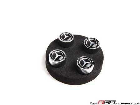 ES#1827114 - Q6408126 - Mercedes Star Valve Stem Caps - Set Of Four Caps - Black Color - Genuine Mercedes Benz - Mercedes Benz