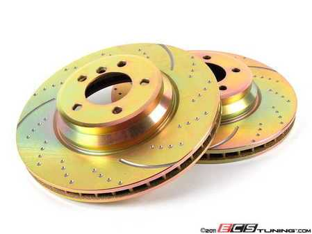 ES#2071356 - GD1512 - Front Cross Drilled & Slotted Brake Rotors - Pair (348x30) - Upgraded to a dimpled and slotted rotor for improved braking - EBC - BMW