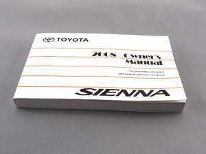 ES#2500696 - 00400OM45455U - 2008 Sienna Owners Manual - Genuine Toyota -