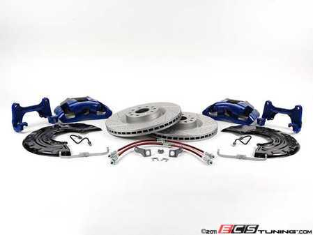 ES#518090 - 1K0698010 - Front Big Brake Kit - ECS GEOMET Cross-Drilled & Slotted Rotors (345x30) - Upgrade your stopping power to the MK5 R32 setup with Blue calipers - Assembled By ECS - Audi Volkswagen