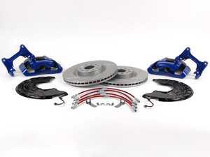 ES#518091 - 1K0698011 -  Front Big Brake Kit - Slotted Rotors (345x30) - Upgrade your stopping power to the MK5 R32 setup with Blue calipers - Assembled By ECS - Audi Volkswagen