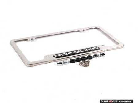 ES#1518767 - PNA70201300 - Porsche Logo License Plate Frame - Brushed Aluminum Finish - Genuine Porsche - Porsche