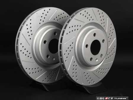 ES#2189931 - 8K0301MXSGMTLRA - Front Cross Drilled & Slotted Brake Rotors - Pair (345x30) - Featuring GEOMET protective coating - ECS - Audi