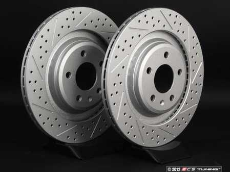 ES#2189937 - 8K0601CXSGMTLRA - Rear Cross Drilled & Slotted Brake Rotors - Pair (330x22) - Featuring GEOMET protective coating. - ECS - Audi