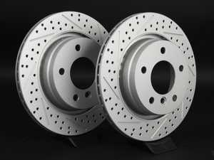 ES#2190233 - 1165563XSGMTLRA - Rear Cross Drilled & Slotted Brake Rotors - Pair (294x19) - Featuring GEOMET protective coating offering superior rust protection for long lasting, great looking rotors. - ECS - BMW