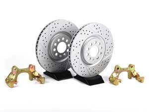 ES#412 - MK4TTBBKNPXS - 337/20th/GLI front Brake Rotor/Carrier Kit - ECS GEOMET Cross Drilled & Slotted Rotors (312x25) - Upgrade to larger rotors for increased brake torque. Reuse your stock calipers, pads, and mounting hardware! - ECS - Volkswagen