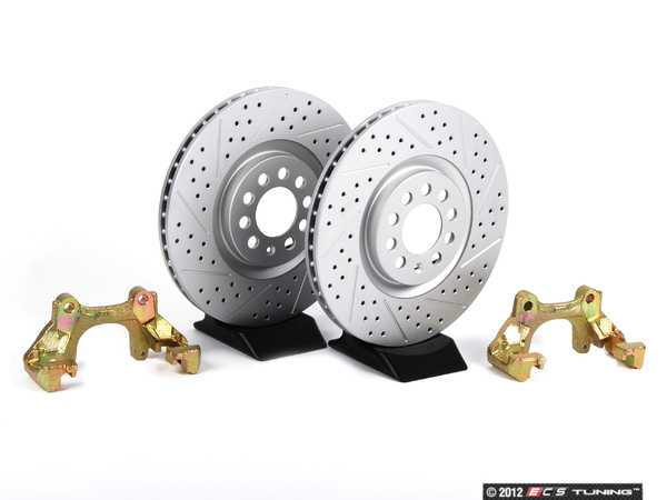 ES#412 - MK4TTBBKNPXS -  337/20th/GLI front Brake Rotor/Carrier Kit - Cross Drilled  Slotted Rotors (312x25) - Upgrade to larger rotors for increased brake torque. Reuse your stock calipers, pads, and mounting hardware! Featuring GEOMET protective coating. - ECS - Volkswagen