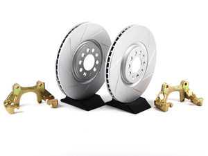 ES#411 - MK4TTBBKNP-S - 337/20th/GLI Front Brake Rotor/Carrier Kit - ECS GEOMET Slotted Rotors (312x25) - Upgrade to larger rotors for increased brake torque. Reuse your stock calipers, pads, and mounting hardware! - ECS - Volkswagen