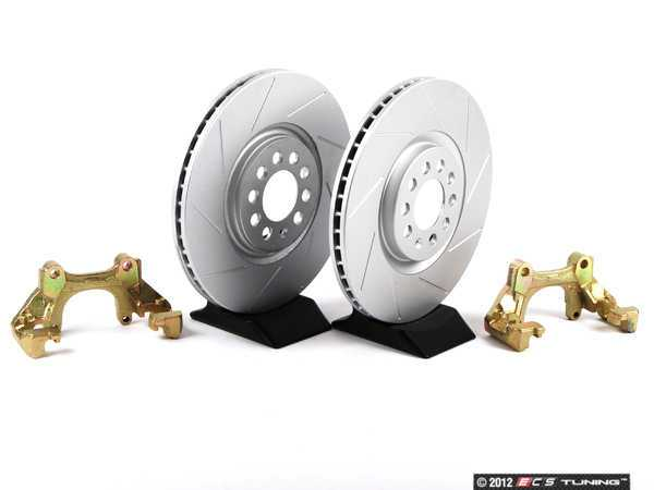 ES#411 - MK4TTBBKNP-S -  337/20th/GLI Front Brake Rotor/Carrier Kit - Slotted Rotors (312x25) - Upgrade to larger rotors for increased brake torque. Reuse your stock calipers, pads, and mounting hardware! Featuring GEOMET protective coating. - ECS - Volkswagen