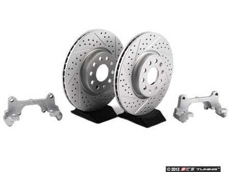 ES#8708 - 1K0698000 - Front Big Brake Kit - ECS Cross Drilled & Slotted GEOMET Rotors (312x25) - Upgrade from 288mm to 312mm rotors from the Jetta GLI. Reuses factory calipers, pads, and hardware! - ECS - Volkswagen