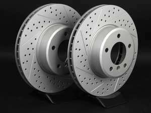 ES#2192994 - 6753221XSGMTLRA - Front Cross Drilled & Slotted Brake Rotors - Pair (324x30) - Featuring GEOMET protective coating offering superior rust protection for long lasting, great looking rotors. - ECS - BMW