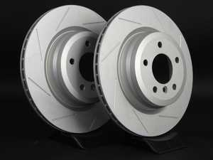 ES#2190262 - 6764655SLGMTLRA - Rear Slotted Brake Rotors - Pair (336x22) - Featuring GEOMET protective coating offering superior rust protection for long lasting, great looking rotors. - ECS - BMW