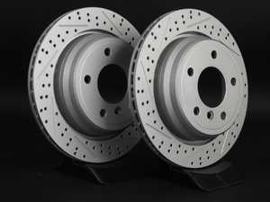 ES#2190308 - 6767060XSGMTLRA - Rear Cross Drilled & Slotted Brake Rotors - Pair (298x20) - Featuring GEOMET protective coating offering superior rust protection for long lasting, great looking rotors. - ECS - BMW