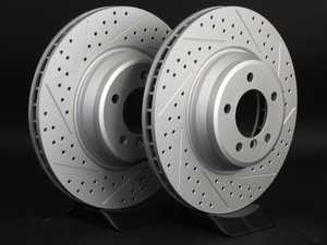 ES#3220926 - 010294ECS01AKT - Front Cross Drilled & Slotted Brake Rotors - Pair (348X30)  - Featuring GEOMET protective coating offering superior rust protection for long lasting, great looking rotors. - ECS - BMW