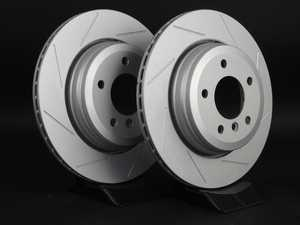 ES#2192999 - 6772085SLGMTLRA - Rear Slotted Brake Rotors - Pair (320x20) - Featuring GEOMET protective coating offering superior rust protection for long lasting, great looking rotors. - ECS - BMW