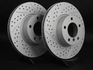 ES#2190250 - 6774875XSGMTLRA - Front Cross Drilled & Slotted Brake Rotors - Pair (312x24) - Featuring GEOMET protective coating offering superior rust protection for long lasting, great looking rotors. - ECS - BMW