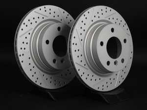 ES#2538993 - 6855008XSGMLRA -  Rear Cross Drilled & Slotted Brake Rotors - Pair (300x20) - Featuring GEOMET protective coating offering superior rust protection for long lasting, great looking rotors. - ECS - BMW