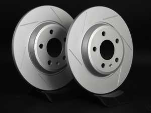 ES#2189936 - 8K0601BSLGMTLRA -  Rear Slotted Brake Rotors - Pair (300x12) - Featuring GEOMET protective coating. - ECS - Audi