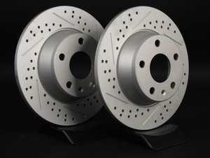 ES#2500859 - 8J0601XSGMTLRA - Rear Cross Drilled & Slotted Brake Rotors - Pair (286x12) - Featuring GEOMET protective coating. - ECS - Audi