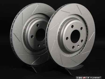 ES#2189938 - 8K0601CSLGMTLRA - Rear Slotted Brake Rotors - Pair (330x22) - Featuring GEOMET protective coating. - ECS - Audi