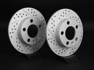 ES#2189758 - 1J0615601PKT6 - Rear Cross Drilled & Slotted Brake Rotors - Pair (232x9) - Featuring GEOMET protective coating. - ECS - Audi Volkswagen