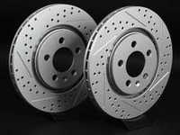 ES#2189793 - 1H0615301AKT6 - Front Cross Drilled & Slotted Brake Rotors - Pair (280x22) - Featuring GEOMET  protective coating. - ECS - Volkswagen