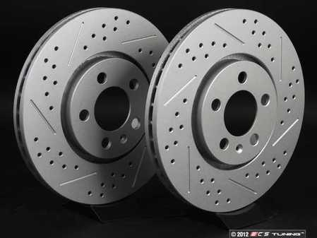 ES#2189755 - 6R0615301AKT6 - Front Cross Drilled & Slotted Brake Rotors - Pair (288x25) - Featuring GEOMET  protective coating. - ECS - Volkswagen