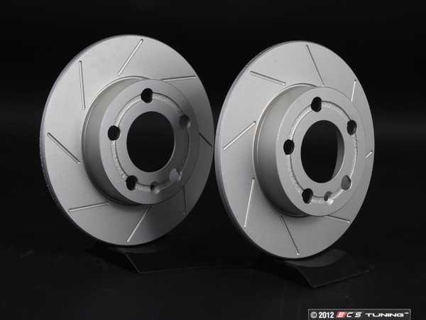 ES#2207708 - 1J0615601PKT7 - Rear Slotted Brake Rotors - Pair (232x9) - Featuring GEOMET protective coating. - ECS - Audi Volkswagen