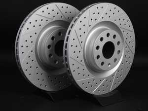 ES#2189765 - 1K0615301MKT4 - Front Cross Drilled & Slotted Brake Rotors - Pair (345x30) - Featuring GEOMET  protective coating. - ECS - Audi Volkswagen