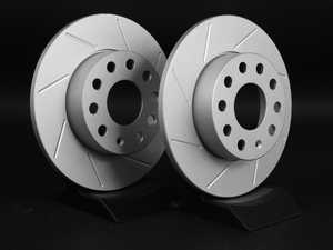 ES#2167524 - 1K0615601LSKT -  Rear Slotted Brake Rotors - Pair (260x12) - Featuring GEOMET protective coating. - ECS - Audi Volkswagen