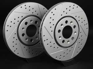 ES#2189948 - 3A0615301AKT5 - Front Cross Drilled & Slotted Brake Rotors - Pair (288x25) - Featuring GEOMET  protective coating - ECS - Volkswagen