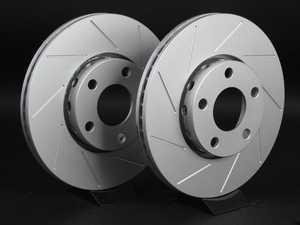 ES#2189795 - 8E0615301QKT8 -  Front Slotted Brake Rotors - Pair (288x25) - Featuring GEOMET protective coating - ECS - Audi Volkswagen
