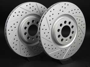 ES#2189954 - 8L0698301AKT5 -  Front Cross Drilled  Slotted Brake Rotors - Pair (312x25) - Featuring GEOMET  protective coating. - ECS - Audi Volkswagen