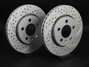 ES#2167518 - 8N0615601BKT5 -  Rear Cross Drilled  Slotted Brake Rotors - Pair (256x22) - Featuring GEOMET  protective coating. - ECS - Audi Volkswagen