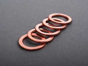 ES#2265 - N138492 5PACK - Copper Drain Plug Washer - Pack Of 5 - Replace with every oil service to prevent leaks. M14x20x1.5 - Victor Reinz - Audi Volkswagen