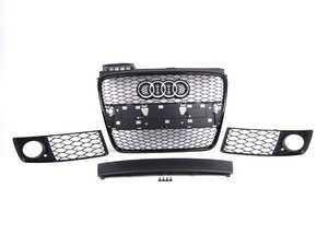 ES#2550691 - 8E0853651AFVMZKT - Complete RS4 Black Optic Grille Kit - Includes center grille, plate filler and fog light grilles - Genuine Volkswagen Audi - Audi