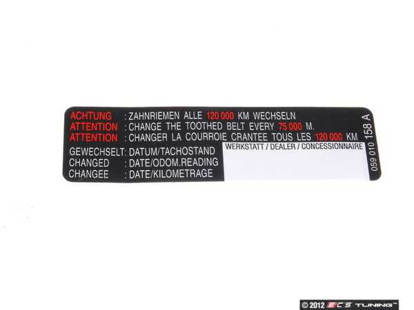 Genuine Volkswagen Audi - 059010158A - Timing Belt Service ...