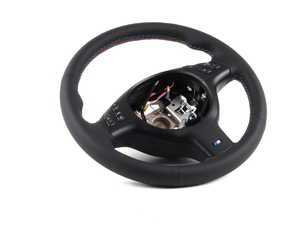 ES#53804 - 32342282020 -  M Leather Steering Wheel - With Multifunction Controls - Featuring black trim and tri-color M color stitching - Genuine BMW - BMW